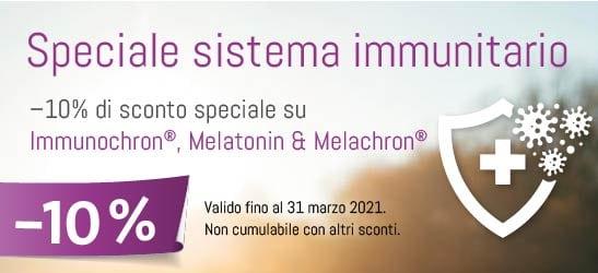 Speciale sistema immunitario: –10% di sconto speciale su Immunochron®, Melatonin & Melachron®
