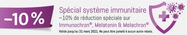 Spécial système immunitaire: –10% de réduction spéciale sur Immunochron®, Melatonin & Melachron®